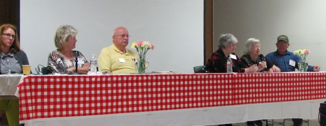Panel discussion featured Amanda Weaver, Meredith (City of Wheat Ridge), Bob Briggs, Claudia Worth (WRHS), Charlotte Whetsel (WRHS), and Don Whetsel.