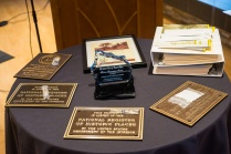 National Register plaques, awards, and Hall of Fame notebooks awaiting presentation at the Hall of Fame event October 17, 2013.