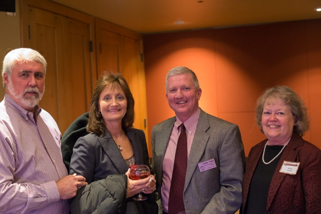 Conifer residents Jim and Shirley Johnson, left, with Commissioner Casey Tighe and historian Bonnie Scudder. Photo by Matthew Lewis.