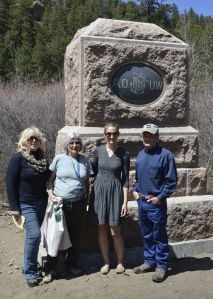 JCHC representatives Mary Lindsey (chair, left), Milly Roeder (second from left), and Bud Weare (right) at the rededication with Rachel Parrish of Colorado Preservation, Inc.