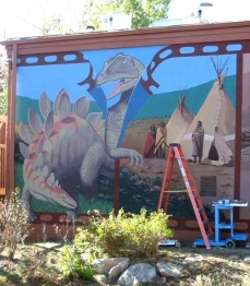 Panels 1 and 2 recall Jurassic era prehistory and Native American use of the area.