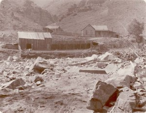 Aftermath of the 1896 flood in Bear Creek above Morrison. DPL/WHC Z-7657.