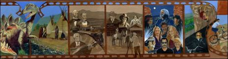 The mural in Morrison, completed in 2007, was commissioned by the Lariat Loop Heritage Alliance.
