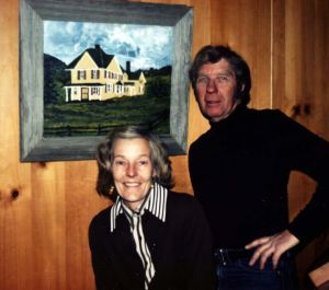 Norm and Ethel Meyer, in times past, with a painting of Midway House.