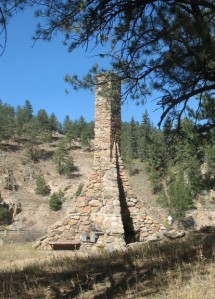 Setting of the O'Fallon Monument, once the gateway to O'Fallon Park in Bear Creek Canyon near Kittredge.