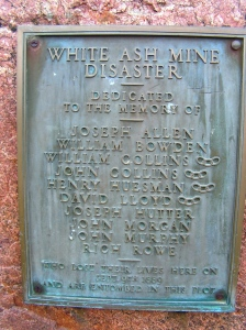 Plaque in memory of miners who died in the White Ash Mine Disaster of 1889.