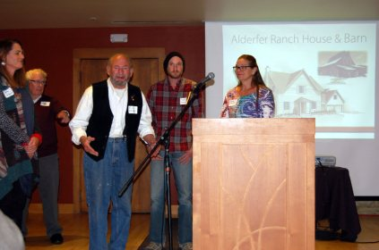 Hank and Barbie Alderfer and other family members accepted the landmark plaque for the Alderfer Ranch House and Barn.