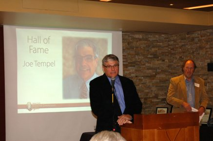 2016 Hall of Fame honoree Joe Tempel, with Dr. Martin Lockley, UC Denver emeritus professor and dinosaur track researcher.