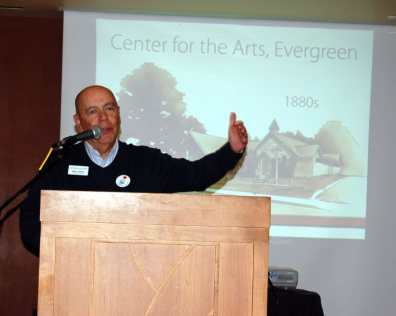 Director Steve Sumner accepted landmark designation on behalf of the Center for the Arts, Evergreen.