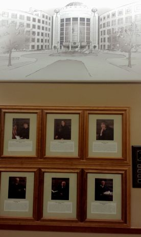 Illustrations of the various courthouses are above the Judges' photos.