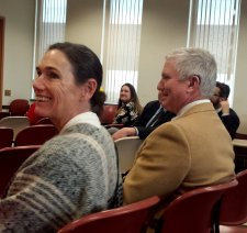 Lee Katherine Goldstein with Commissioner Tighe during the program.