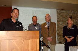 Scott Gilmore, Director of Denver Parks and Recreation, speaks as recipient of the 2017 Meyer Award, as Brad Eckert, Mountain Parks planner; Bart Berger, director of the DMP Foundation; and Cynthia Shaw, JCHC chair, look on.